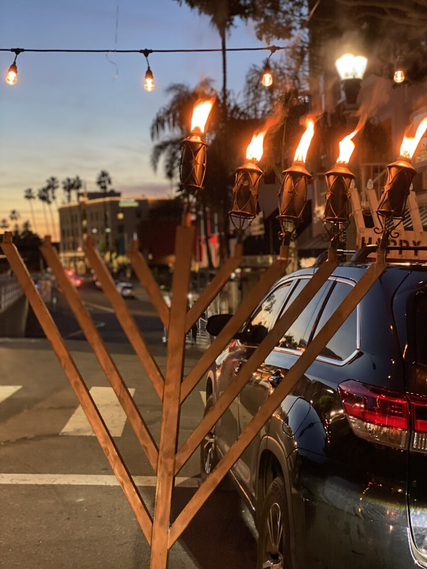 Chabad of La Jolla held a menorah lighting Dec. 13 in front of the La Valencia Hotel on Prospect Street.