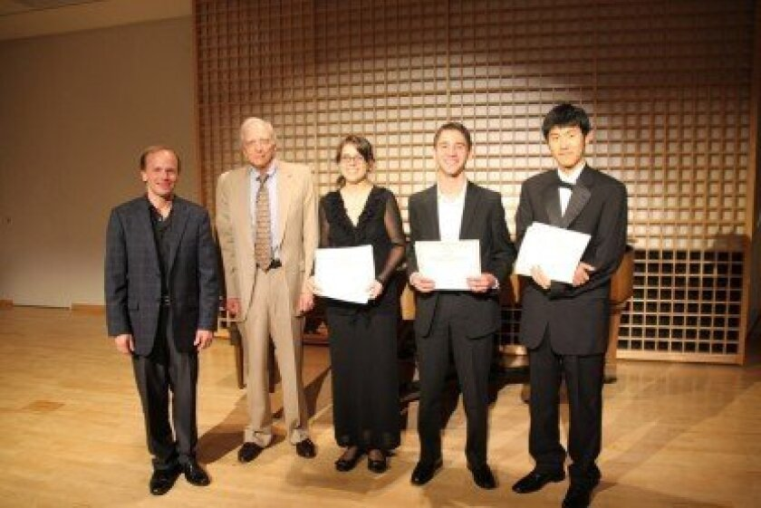 From left to right: Jeff Edmons, SDYS music director, and Ron Bierman, president of Advocates for Classical Music with Andrea Fortier, 1st place, Omar Gaidarov, 2nd place and Richard Xu, 3rd place.