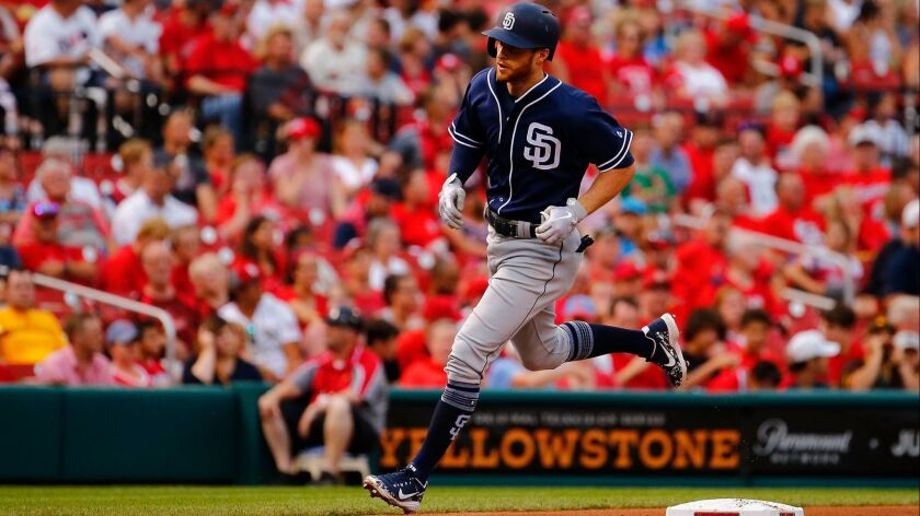 Cory Spangenberg rounds the bases after hitting a home run Monday against the St. Louis Cardinals.