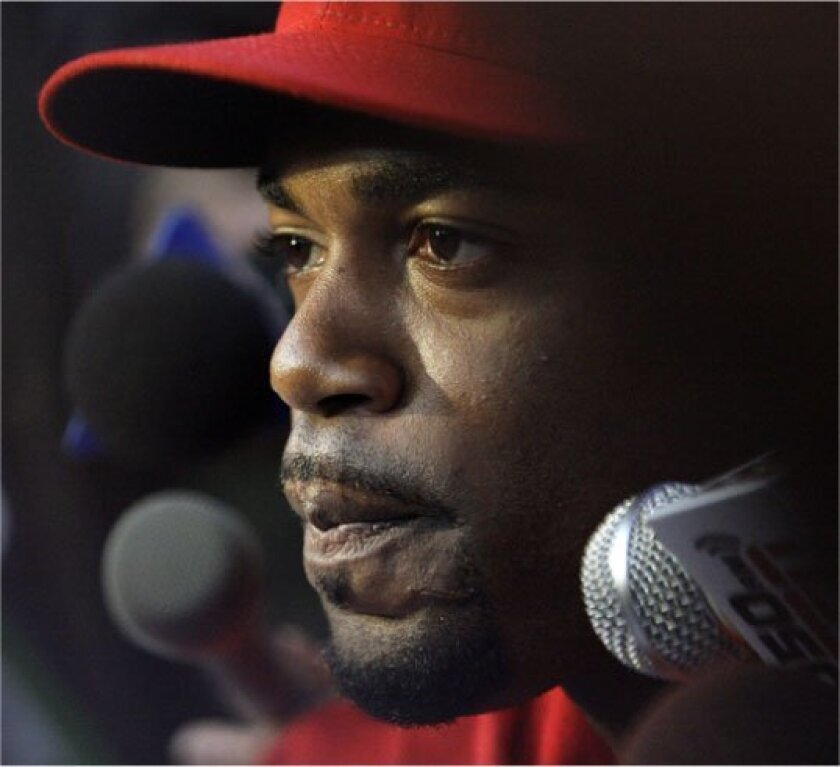 Philadelphia shortstop Jimmy Rollins chats  with the media in advance of another World 
