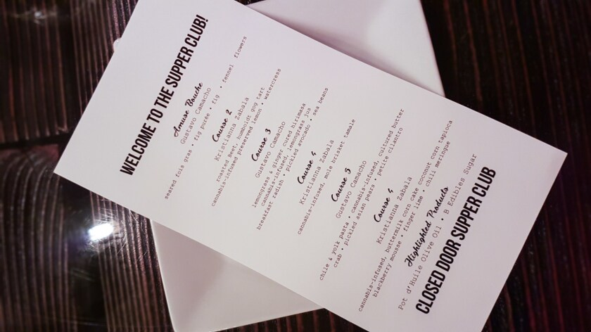 A menu from a Closed Door Supper Club THC-infused dinner.