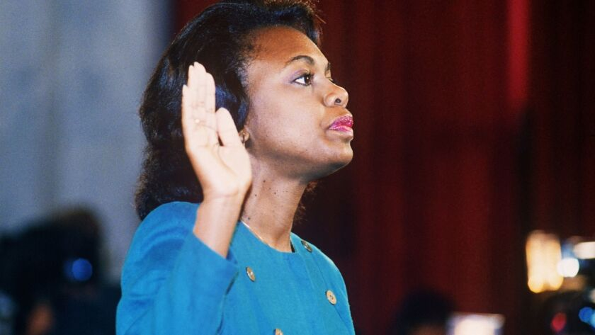 US law professor Anita Hill takes oath, 12 October