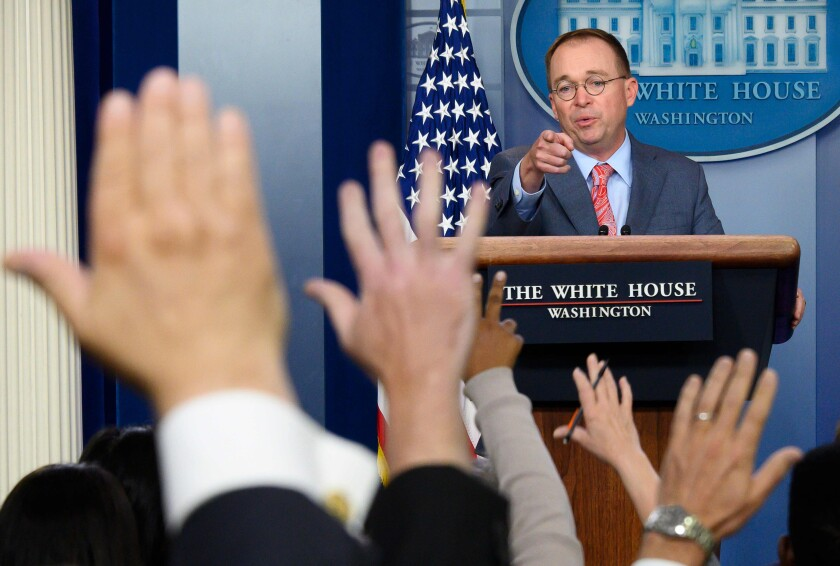 Acting White House Chief of Staff Mick Mulvaney.