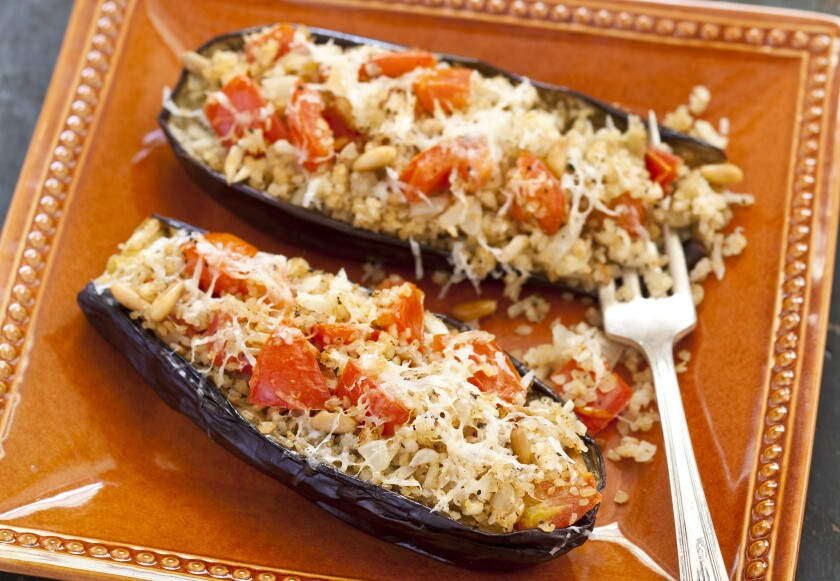 """Stuffed Eggplant with Bulgur from """"The Complete Mediterranean Cookbook."""""""