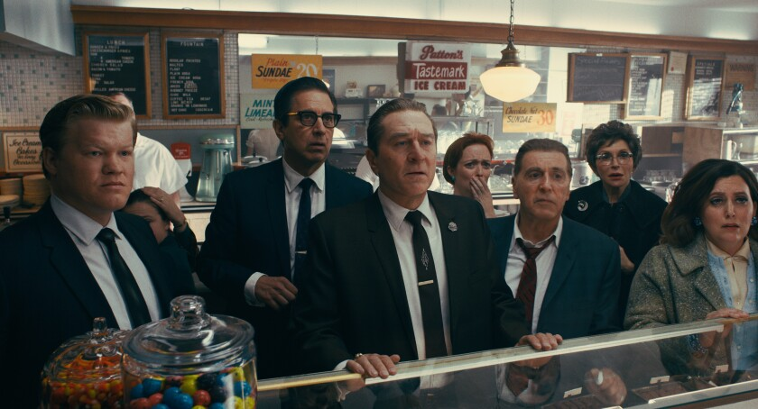 "Jesse Plemons, left, Ray Romano, Robert De Niro, and Al Pacino in ""The Irishman."""
