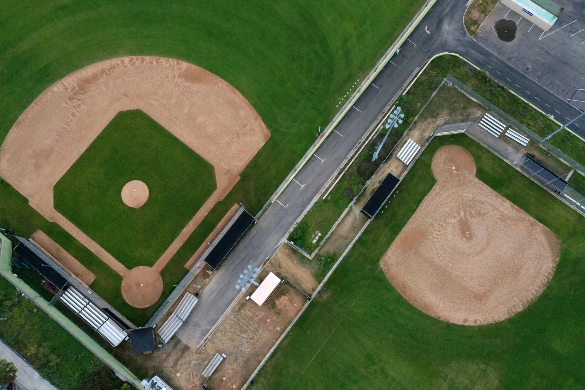 Baseball fields on North Boylston Street empty