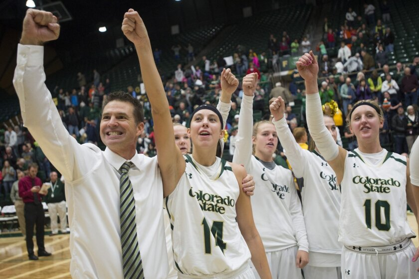 In this Saturday, Nov. 21, 2015, photo, Colorado State coach Ryun Williams and his team celebrate a 61-55 win in an NCA college basketball game against BYU at Moby Arena in Fort Collins, Colo. The Lady Rams have reeled off a school-record 20 straight wins as the team chases an NCAA tournament bid f