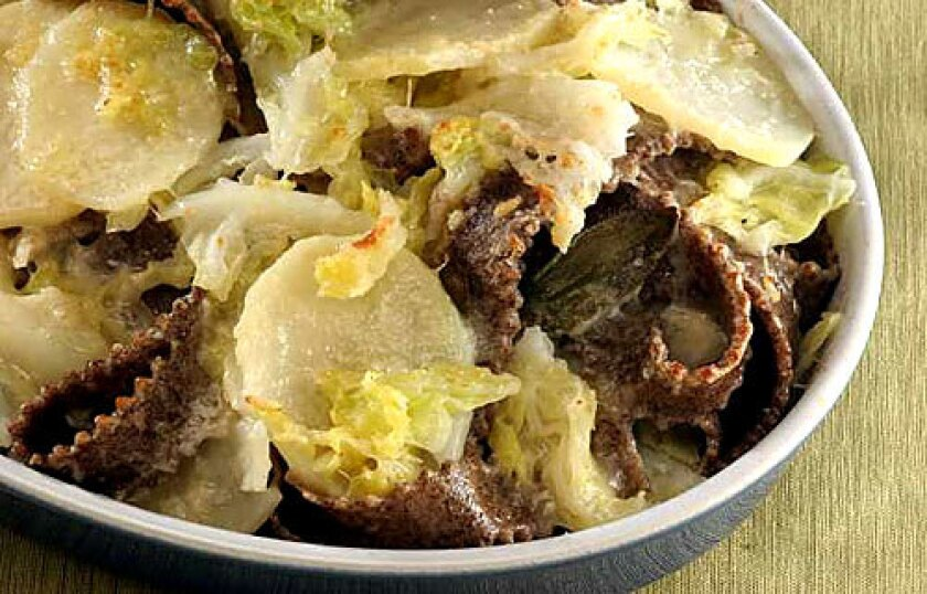 SAVORY: Pizzocheri is buckwheat pasta with potatoes, melted cheese and greens.