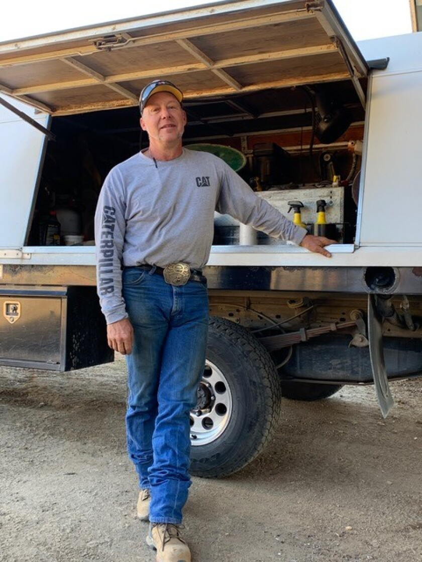 Like many farriers, Steve Shutler's truck is also a mobile forge.