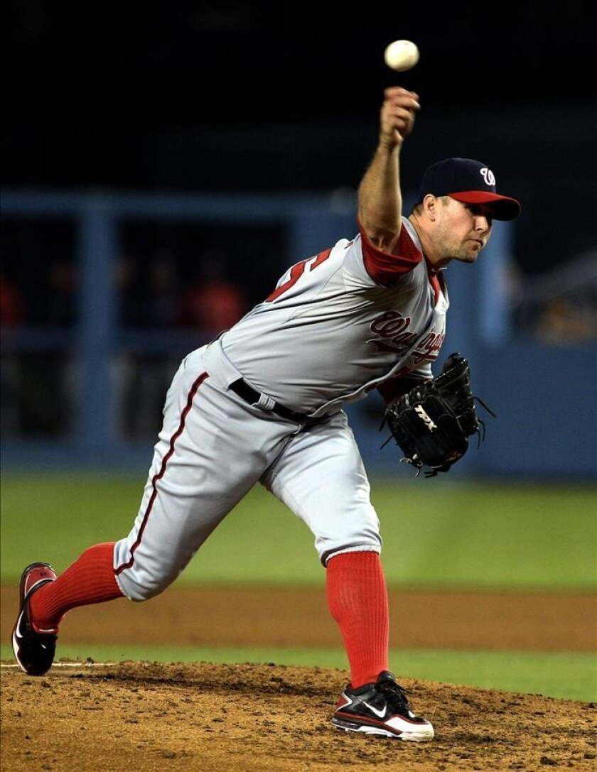 En la imagen, el lanzador Craig Stammen. EFE/Archivo