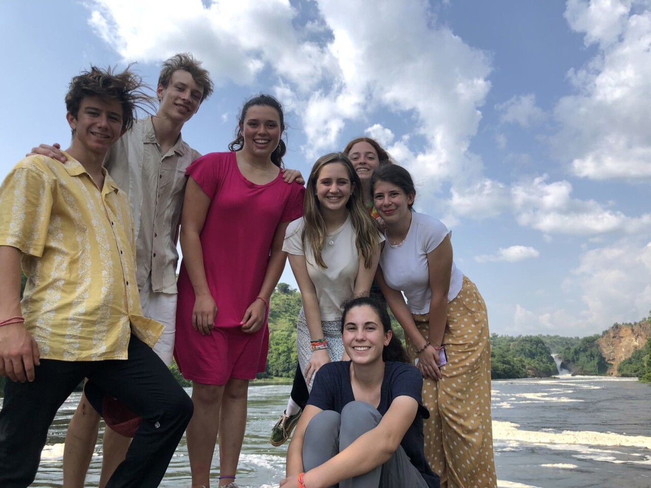 Ray Wipfli, La Salle High School's Arik Billings, Francesca Christensen, Carolyn Gold, Jordyn Hart, Audrey Melillo and Arianna de la Torre spent a week traveling in Uganda and working with students there on projects related to health, nutrition and self-expression.