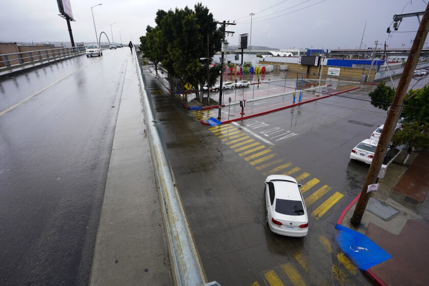U.S. Customs and Border Protection has made changes at ports of entry along the California-Mexico border, including the temporary closure of the PedWest pedestrian crossing. Closed because of coronavirus restrictions, the now-empty square in front of the