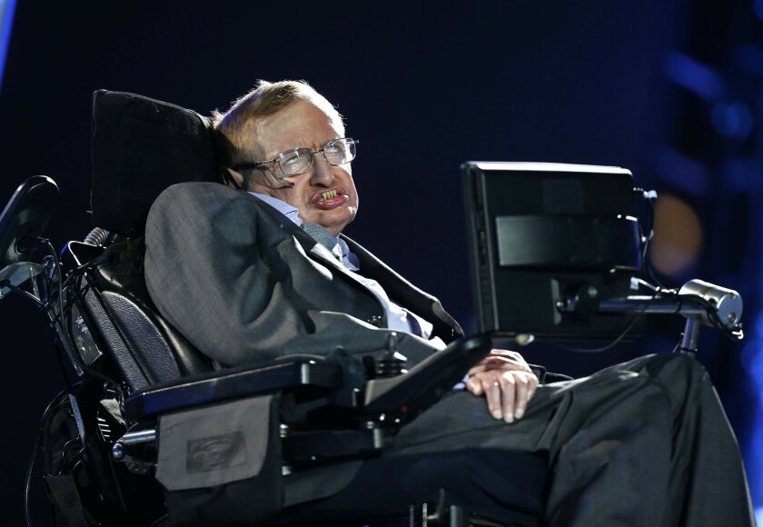 FILE - In this file photo dated Wednesday Aug. 29, 2012, British physicist, Professor Stephen Hawking speaks during the Opening Ceremony for the 2012 Paralympics in London, Wednesday Aug. 29, 2012. Hawking was interviewed on British TV Monday May 30, 2016, saying UK should stay inside the European