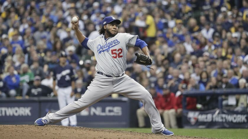MILWAUKEE, WISCONSIN, SATURDAY, OCTOBER 13, 2018 - Dodgers reliever Pedro Baez pitches against the M