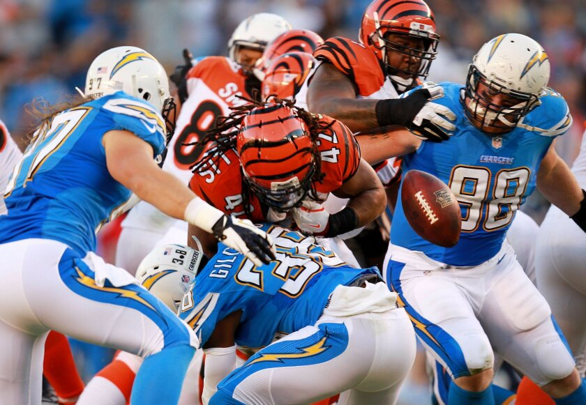 San Diego Chargers lose to the Cincinnati Bengals 17-10 at Qualcomm Stadium. BenJarvus Green-Ellis coughs up the ball in the 4th quarter giving the Chargers one last shot at a win, but they came up short. Eric Weddle recovered the fumble.
