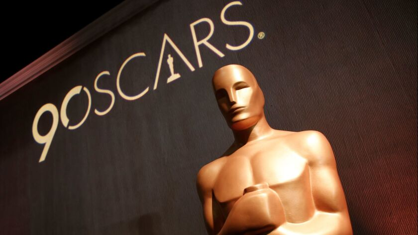 An Oscar statue appears in the ballroom during the 90th Academy Awards Nominees Luncheon at The Beve