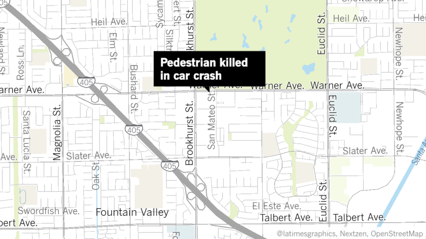 A pedestrian died after being struck in a car crash in Fountain Valley on Tuesday.
