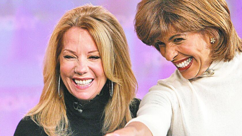 "Kathie Lee Gifford, left, and Hoda Kotb, co-hosts of the fourth hour of the NBC ""Today"" television program, in 2000."