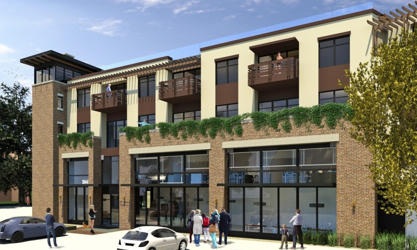 Plans for a mixed-use project with 106 apartments will be presented to the Carlsbad Planning Commission on Wednesday.
