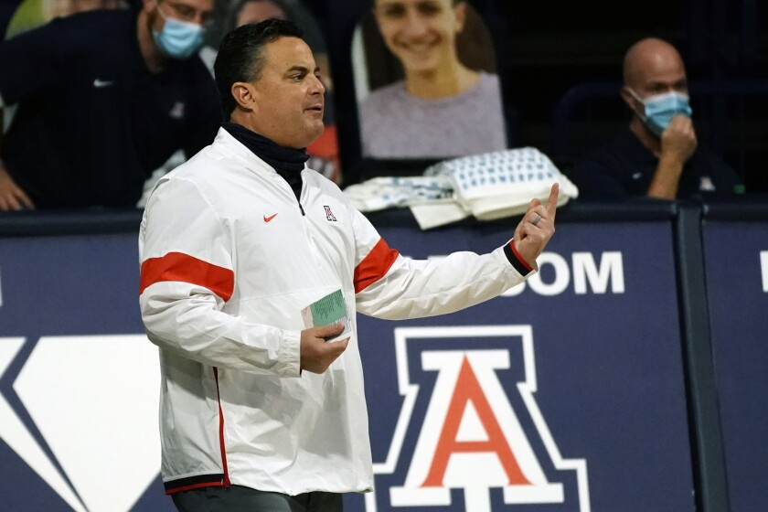 Arizona head coach Sean Miller reacts to a play against Colorado.