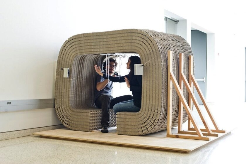 "Trans-border architect Giacomo Castagnola, whose ""CUBO: MediaWomb"" is shown here, will have his work on display at the NAFTA furniture exhibit.  Germen Estudio"