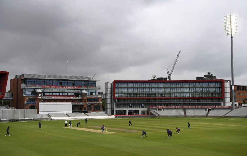 A general view of the field during day three of a West Indies Warm Up match at Old Trafford in Manchester, England, Wednesday July 1, 2020. England are scheduled to play West Indies in their first international Test match on July 8-12. (Gareth Copley/Agency Pool via AP)