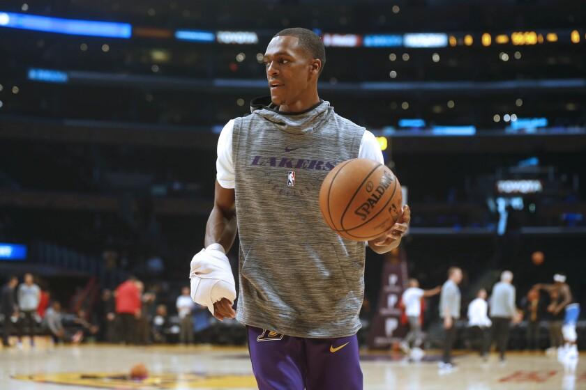 LOS ANGELES, CALIF. -- SUNDAY, NOVEMBER 25, 2018: Los Angeles Lakers guard Rajon Rondo (9), out of t