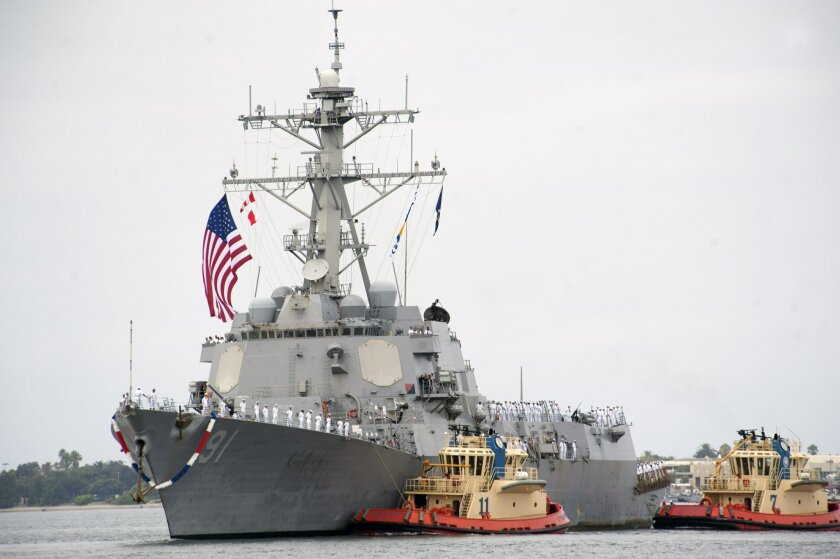 The guided-missile destroyer USS Pinckney (DDG 91) returned in August 2014 to Naval Base San Diego following a seven-month deployment to the western Pacific and Indian Oceans. (U.S. Navy photo by Senior Chief Mass Communication Specialist Donnie W. Ryan/Released)