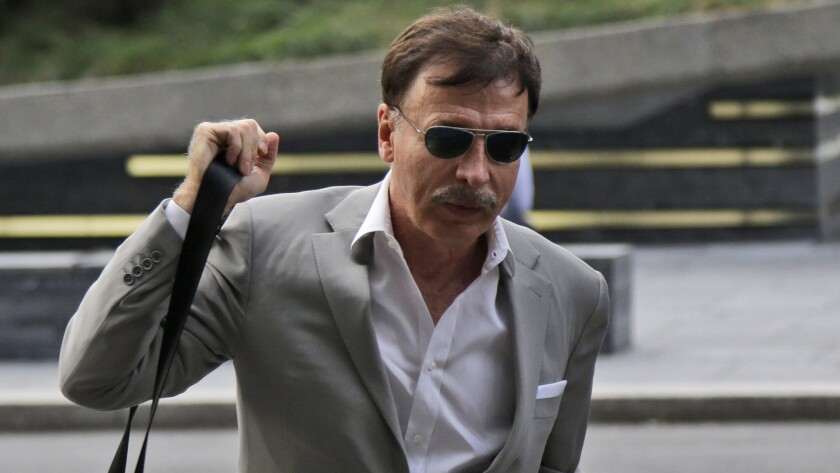 St. Louis Rams owner Stan Kroenke arrives at the NFL meetings in New York on Oct. 7. A group that includes Kroenke has donated more than $100,000 to government officials in Inglewood, Calif.