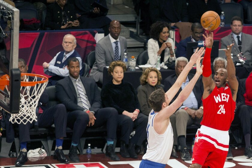 Western Conference's Kobe Bryant, of the Los Angeles Lakers, (24) shoots on Eastern Conference's Pau Gasol, of the Chicago Bulls, during second half NBA All-Star Game basketball action in Toronto on Sunday, February 14, 2016. (Chris Young/The Canadian Press via AP)