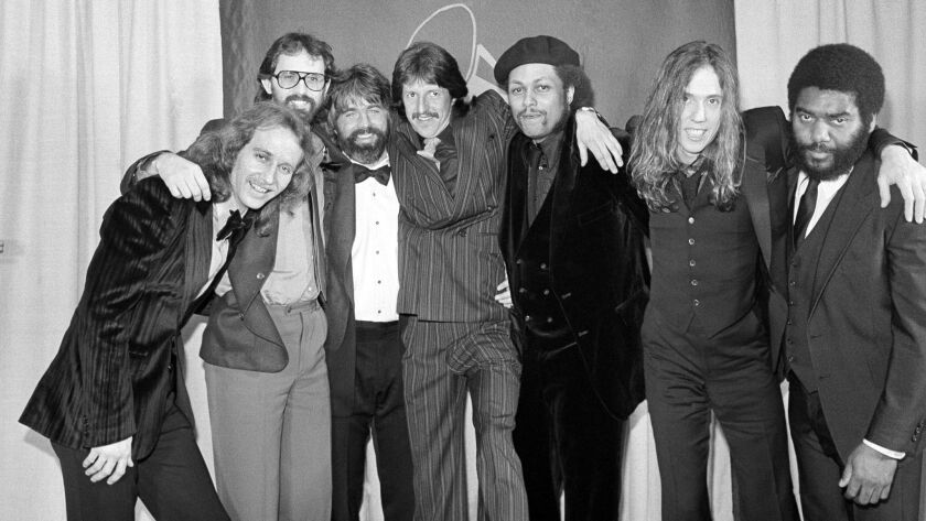 McDonald, third from left, with the Doobie Brothers at the Grammy Awards in 1980.