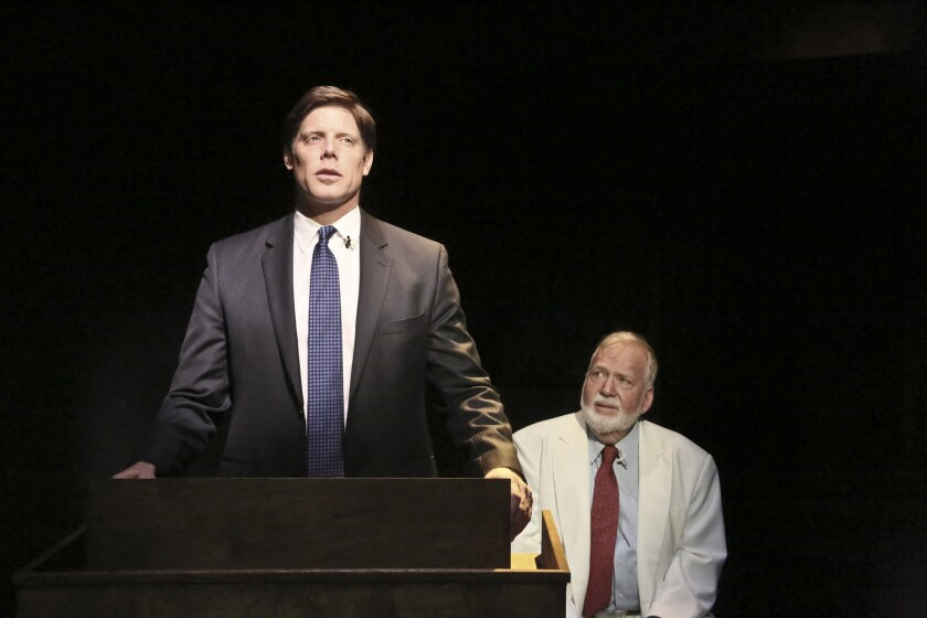 "Brian Letscher and Ted Heyck as Baptist pastors in David Rambo's play ""God's Man in Texas"" at the Blank Theatre"