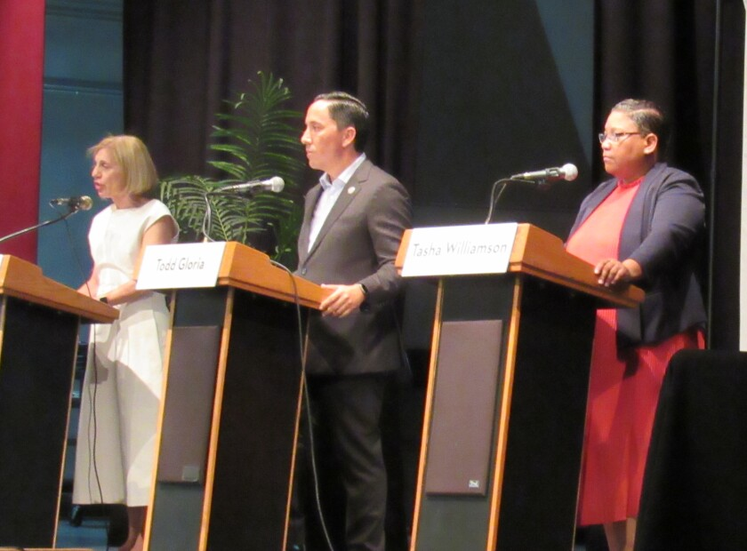 The mayoral candidates debated community issues for almost two hours.