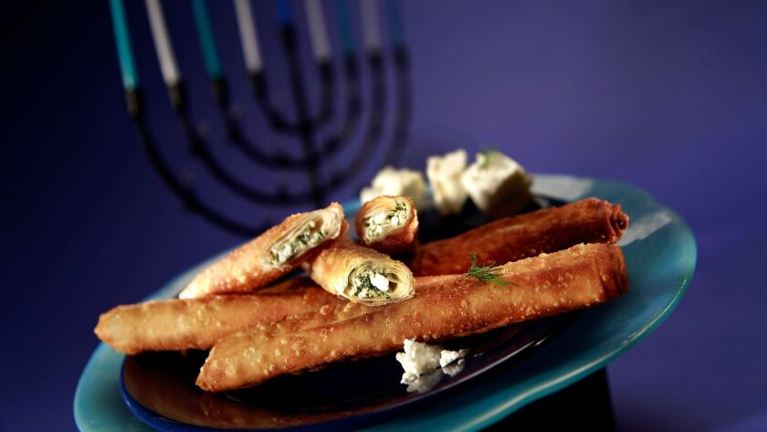 Feta cheese cigars, also called cheese rolls or cheese boreks.
