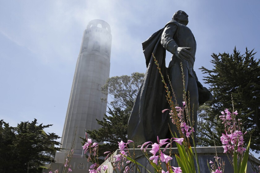 The Christopher Columbus statue beneath Coit Tower in San Francisco in 2014.