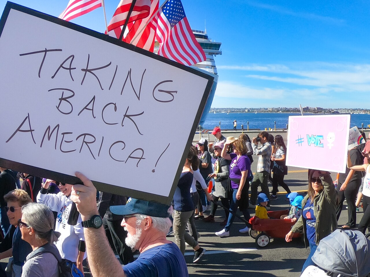 Thousands of people walked in the fourth annual Women's March San Diego, as it made its way along North Harbor Drive on the Embarcadero, January 18, 2020 in San Diego, California. It began at the County Administration building and Waterfront Park.