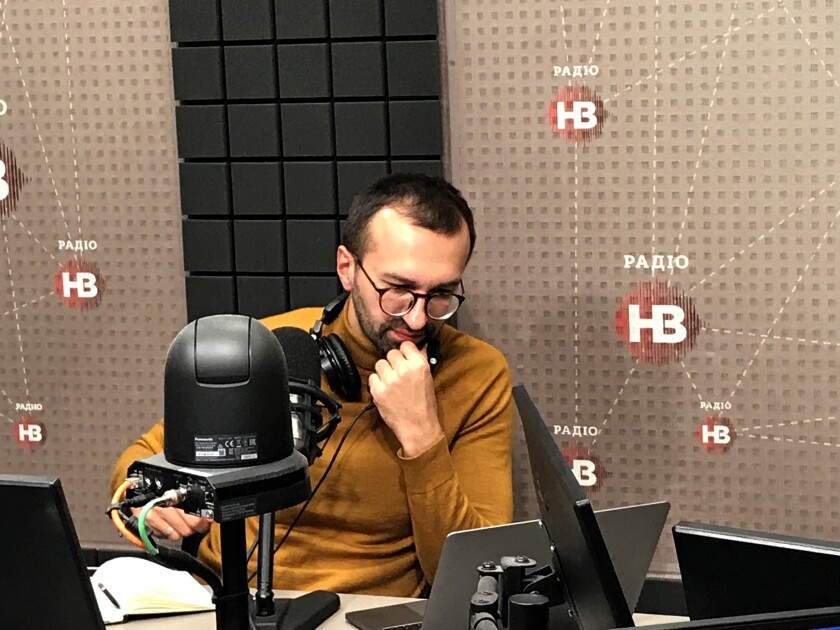 Sergei Leshchenko is interviewed on Ukrainian radio about becoming a target of Rudolph W. Giuliani's accusations on Oct. 10, 2019.