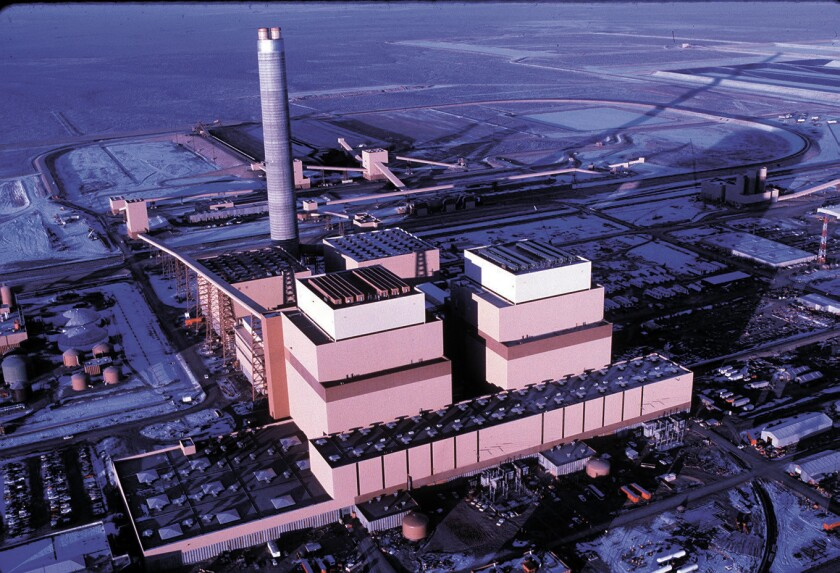 Undated file photo of the huge coal-fired Intermountain Power Project in Delta, Utah, that is the single biggest supplier of electric power for Los Angeles. The plant opened in 1986.