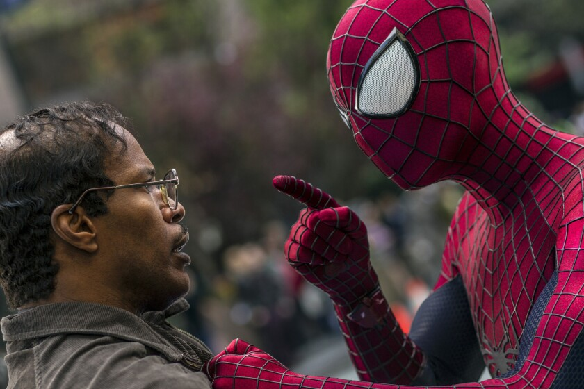"Spidey's 2014 outing in ""The Amazing Spider-Man 2"" with Andrew Garfield in the superhero suit and Jamie Foxx before his Electro transformation."