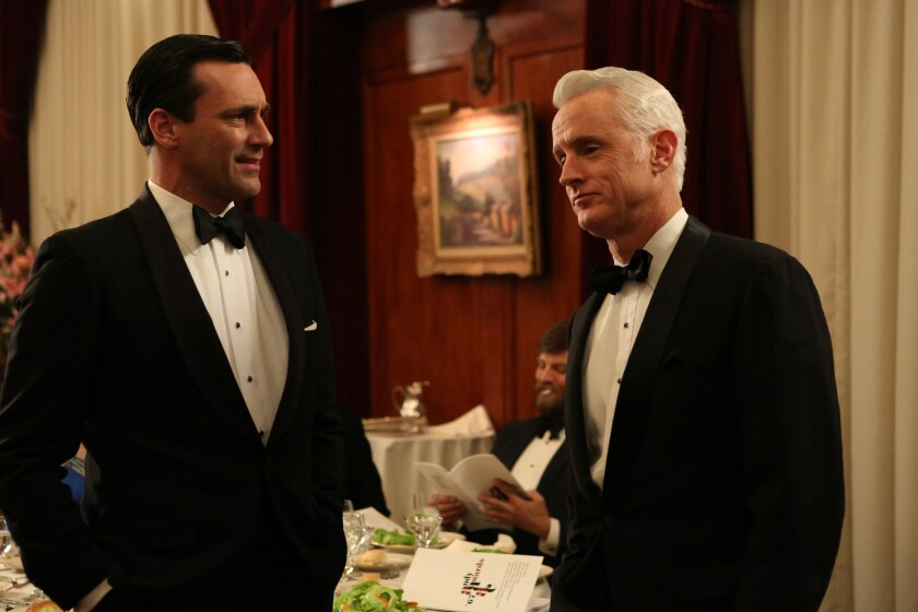 "Jon Hamm, left, and John Slattery in an episode from the sixth season of ""Mad Men."""