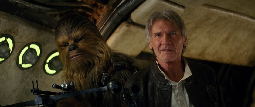 """Chewbacca and Han Solo (Harrison Ford) in """"Star Wars: The Force Awakens."""""""