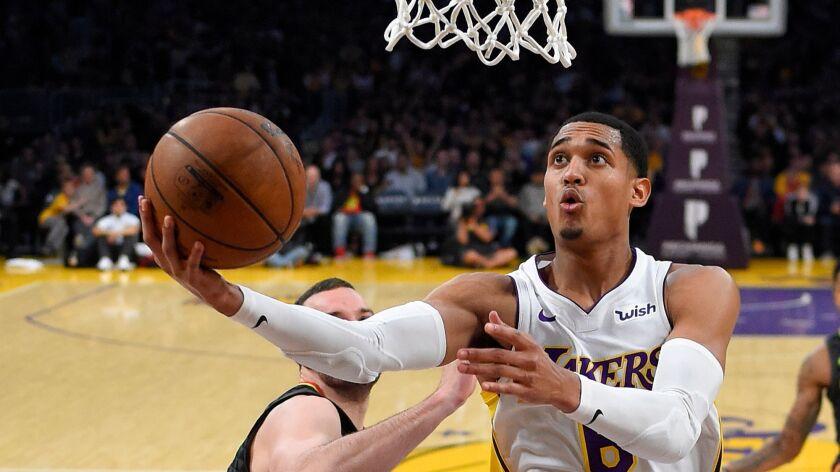 Los Angeles Lakers guard Jordan Clarkson shoots during the second half against the Atlanta Hawks.