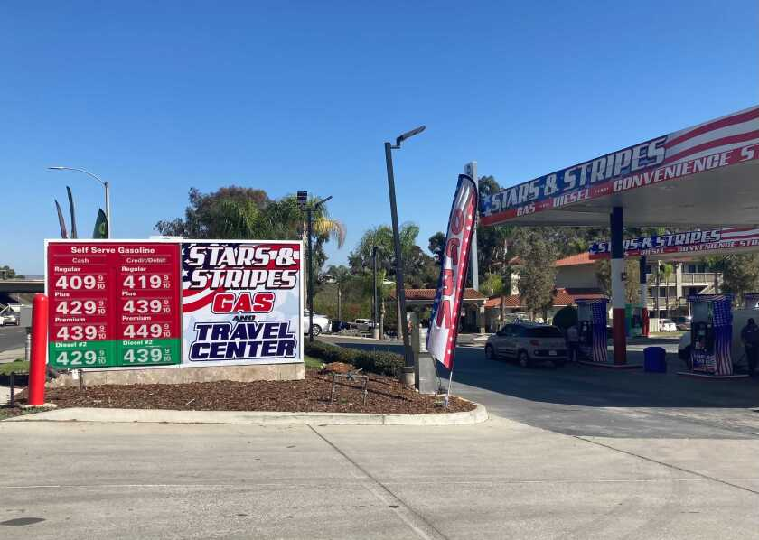 Gas prices advertised in Chula Vista on Wednesday.