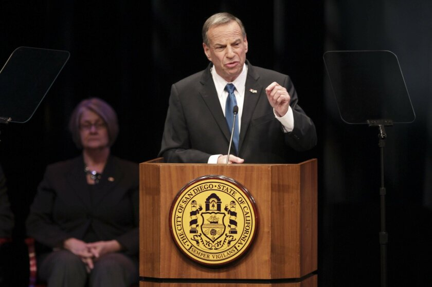 Newly elected Mayor Bob Filner address the packed Balboa Theatre downtown as he gives his State of the City presentation.
