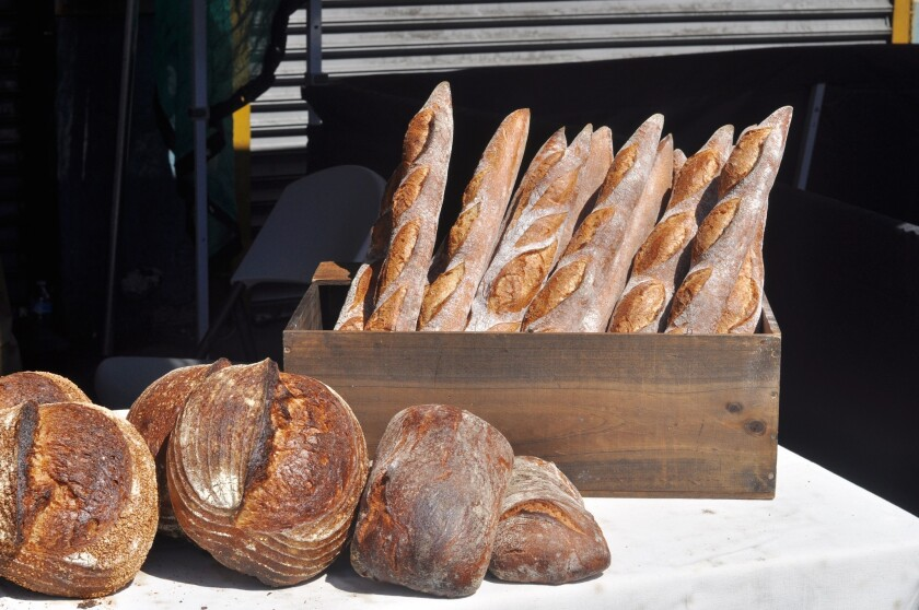 Baguettes and fresh loaves from Bub and Grandma's Bread, at Smorgasburg L.A.