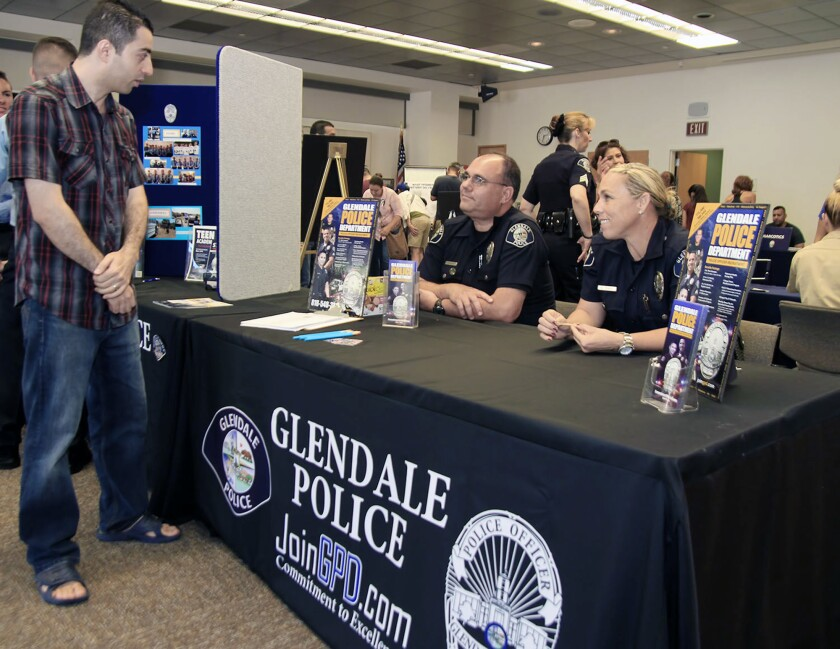 Glendale police recruit attendees during a June open house.