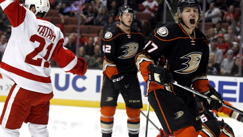 Ducks defenseman Hampus Lindholm reacts after Red Wings left wing Tomas Tatar scores in the first period Sunday.