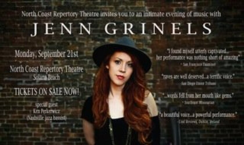 Former San Diegan Jenn Grinels performs at 7:30 p.m. Sept. 21 at North Coast Repertory Theatre in Solana Beach.