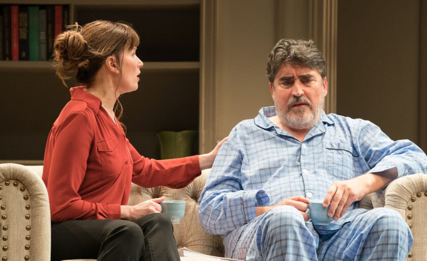 """Sue Cremin as Anne and Alfred Molina as André in """"The Father"""" at Pasadena Playhouse."""