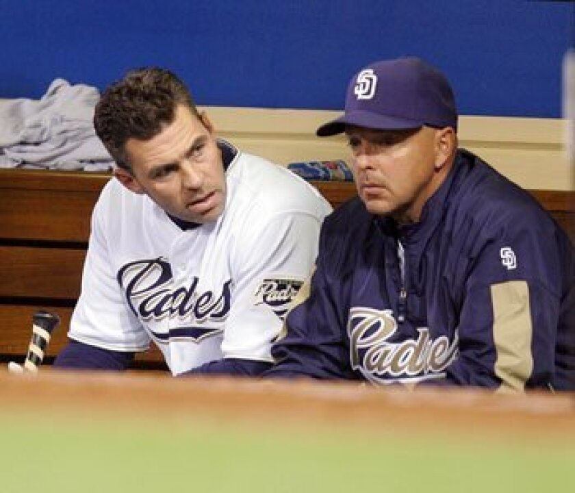 Wally Joyner, shown in this April file photo with former Padres center fielder Jim Edmonds, stepped down as Padres hitting coach today.<br><em>Sean M. Haffey/Union-Tribune</em>